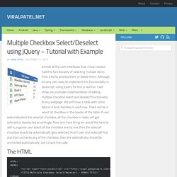 Multiple Checkbox Select/Deselect using jQuery – Tutorial with Example | ViralPatel.net