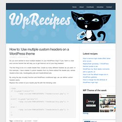 Use multiple custom headers on a WordPress theme