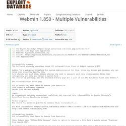 Webmin 1.850 - Multiple Vulnerabilities
