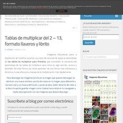 Tablas de multiplicar del 2 - 13, formato llaveros y librito
