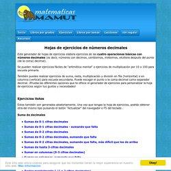 Ejercicios para números decimales: sumar, restar, multiplicar y dividir. Imprimir gratis hojas de ejercicios por: MamutMatematicas.com