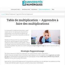Les tables de multiplication : les méthodes d'apprentissage / universités-numériques
