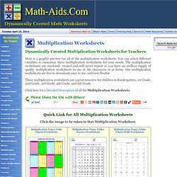 Multiplication Worksheets | Multiplication Worksheets for Lesson Plans