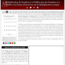 Multiplication de Nombres à 2 Chiffres par des Nombres à 2 Chiffres (A) Fiches d'Exercices sur la Multiplication Longue