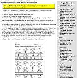 Sudoku Multiplication Tables - Juegos de Matemáticas