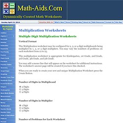 Multiplication Worksheets | Multiple - Digit Multiplication Worksheets