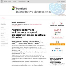 Altered auditory and multisensory temporal processing in autism spectrum disorders