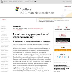 A multisensory perspective of working memory