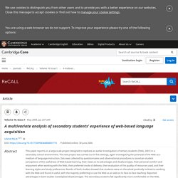 A multivariate analysis of secondary students' experience of web-based language acquisition