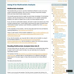 Using R for Multivariate Analysis