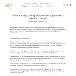 What is a high quality multivitamin supplement?