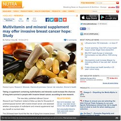 Multivitamin and mineral supplement may offer breast cancer hope