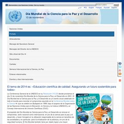 Día Mundial de la Ciencia para la Paz y el Desarrollo - 10 de noviembre
