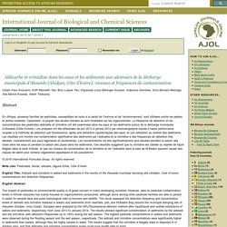 International Journal of Biological and Chemical Sciences - 2016 - Aldicarbe et crimidine dans les eaux et les sédiments aux alentours de la décharge municipale d'Akouédo (Abidjan, Côte d'Ivoire): niveaux et fréquences de contamination