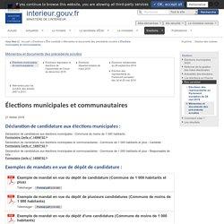 Élections municipales et communautaires / Mémentos et documents des précédents scrutins / Être candidat / Elections - Ministère de l'Intérieur