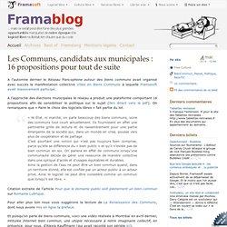 Les Communs, candidats aux municipales : 16 propositions pour tout de suite