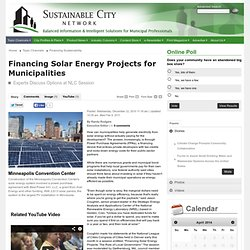 Financing Solar Energy Projects for Municipalities - Sustainable City Network, Inc.: Finance: news, solar energy, solar panels, solar america communities, national league of cities