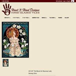 "24""x18"" Tile Mural Art Nouveau Lady Among Lilies - Hand-N-Hand Designs"
