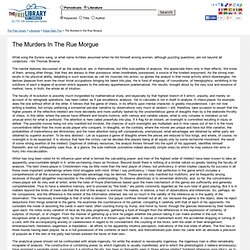Edgar Allan Poe: The Murders in the Rue Morgue: The Murders In The Rue Morgue - Free Online Library