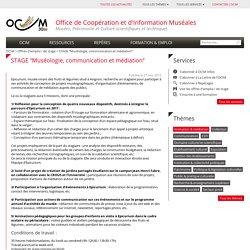 """STAGE """"Muséologie, communication et médiation"""""""
