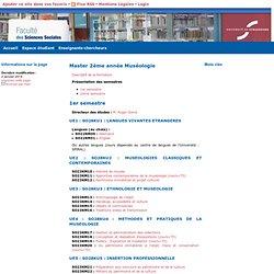 Master 2ème année Muséologie - La Faculté des Sciences Sociales de l'Université de Strasbourg