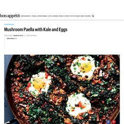 Bobby Flay - Mushroom Paella with Kale and Eggs