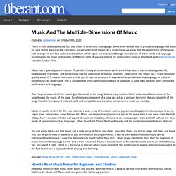 Music And The Multiple-Dimensions Of Music