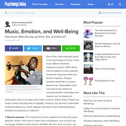 Music, Emotion, and Well-Being