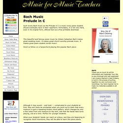 Free Bach Music for Piano, the Lovely and Easy Prelude in C in Original Form