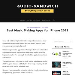 Best Music Making Apps for iPhone 2021 – Audio Sandwich