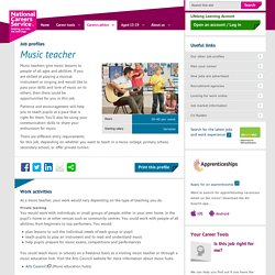 Music teacher job information