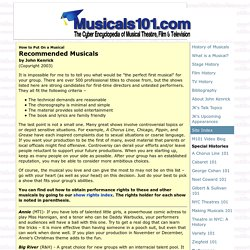 How to Put On a Musical: Recommended Musicals
