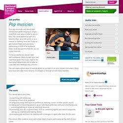 Pop musician Job Information