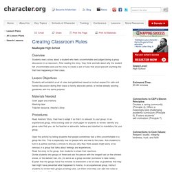Creating Classroom Rules (Grades 9-12)