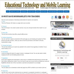 10 Must Have Bookmarklets for Teachers