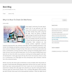 Why It Is Must To Check Siti Web Roma