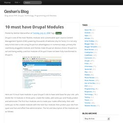 10 must have Drupal Modules - Geshan's Blog