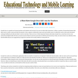 7 Must Have Google Docs Add-ons for Teachers