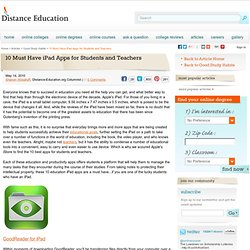 10 Must Have iPad Apps for Students and Teachers