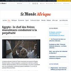 Egypte : le chef des Frères musulmans condamné à la perpétuité