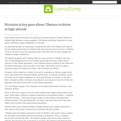 Mutation in key gene allows Tibetans to thrive at high altitude