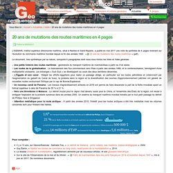 20 ans de mutations des routes maritimes en 4 pages