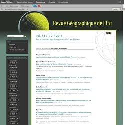 Mutations des systèmes productifs en France -Revue géographie de l'Est