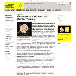 Nations unies: Résolution contre les mutilations génitales féminines