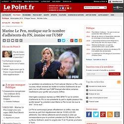 Marine Le Pen, mutique sur le nombre d'adhérents du FN, ironise sur l'UMP, actualité Politique : Le Point