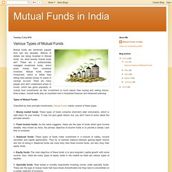 Mutual Funds in India: Various Types of Mutual Funds