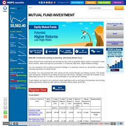 Mutual Funds Investment Online at HDFC Securities