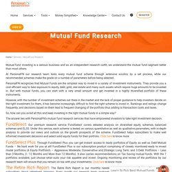 Best Mutual Fund Research Online - Personal FN