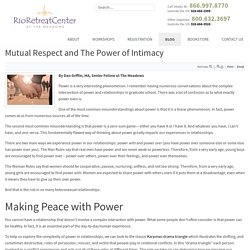 Mutual Respect and The Power of Intimacy