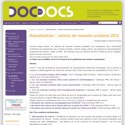 Mutualisation : notices de manuels scolaires 2012